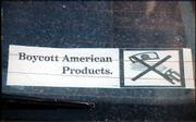 A bumper sticker shows anti-American sentiment in Ramallah, Palestine.