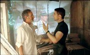 "Tom Cruise and Steven Spielberg talk about a scene during the filming of Spielberg&squot;s new film ""Minority Report."" The film is the first project the two have worked on together."