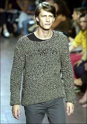 Byblos unveils a knitted sweater at its show in Milan, Italy.