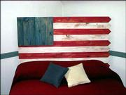 A patriotic flag headboard can be brought out to celebrate the Fourth of July or be used throughout the year.