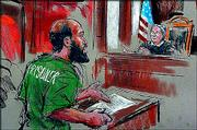 Zacarias Moussaoui stands before Judge Leonie Brinkema in U.S. District Court in Alexandria, Va., in this artist's rendering. Moussaoui declared Thursday that he was guilty of four of six charges accusing him of conspiring with the Sept. 11 hijackers, then abruptly withdrew his attempted plea after arguing with Brinkema.