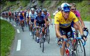 Lance Armstrong leads the pack during the 17th stage of the Tour de France. Dario Frigo of Italy won Thursday's stage, but Armstrong maintained his overall lead.