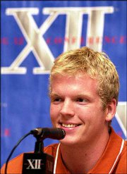 Texas quarterback Chris Simms answers questions during an interview session. Simms participated in the Big 12 Conference's annual football media days Friday in Houston.