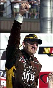 Dale Jarrett Celebrates. Jarrett won the Pepsi 400 on Sunday at the Michigan International Speedway in Brooklyn, Mich.