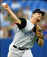 Kansas City starting pitcher Paul Byrd delivers. The Royals fell to the Blue Jays, 2-0, on Monday in Toronto.