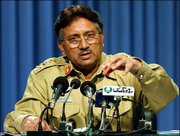 Pakistan's President Gen. Pervez Musharraf addresses a news conference in Islamabad, where he announced that he had unilaterally amended Pakistan's constitution. His action gives the military its first formal role in governing the nation, and guarantees he will keep his post for another five years.