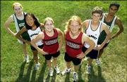 City cross country runners, from left, Mallory Richardson (Free State), Regan Sisson (Seabury), Lauren Davis and Dylan McClain (Lawrence High), Matt Parker (Seabury) and Hiral Bhakta (Free State) are eager to open their season.