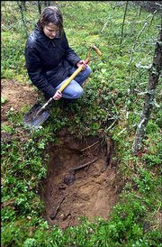Alexandra Reznikova looks at bones in a pit believed to be a vast burial ground for victims of Soviet dictator Josef Stalin's repression near the village of Toksovo, Russia. Volunteers working with the rights group Memorial searched for five years before finding this grave, which they estimate could contain about 30,000 bodies.