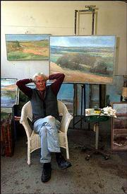 Kansas landscape painter and former KU professor Robert Sudlow, in this June 2002 file photo, died Thursday. Sudlow was nationally known for his impressionistic landscape paintings.