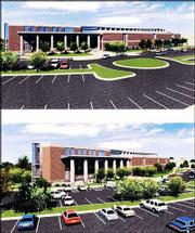 A computer-rendered image shows a viewpoint of a new 82,000-square-foot building for the Kansas University Edwards Campus after construction complete. Ground-breaking for the project was Monday.