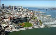 Pacific Bell Park, home of the San Francisco Giants, is shown in this aerial photo of San Francisco. The World Series shifts to Pac Bell tonight when the Giants play host to Anaheim.