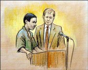 Nathaniel O. Osbourne, left, and his lawyer Kenneth R. Sasse are shown in this artist's rendering in federal court in Flint, Mich. Osbourne, 26, was ordered Sunday to be held without bond.
