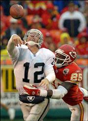 Oakland quarterback Rich Gannon (12) is drilled by Kansas City's Greg Wesley in the second half. The Chiefs' defense held the NFL's highest-scoring offense in check during their 20-10 victory Sunday in Kansas City, Mo.