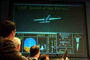 National Transportation Safety Board members watch a computer re-creation of American Airlines Flight 587 during a meeting to discuss the crash in New York last year. Investigators looking into the crash of believe rudder movements caused the tail to break off, but don't know whether the movements were caused by the pilots or by a problem with the control system.