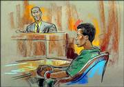 George Corbin, left, head of the Fairfax Juvenile Detention Center, testifies in court while sniper suspect John Lee Malvo listens in Fairfax, Va., in this sketch by William Hennessy. A judge Friday denied a request by Malvo's guardian to get the 17-year-old moved from the adult jail to a juvenile facility.