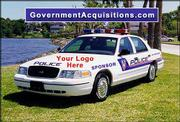 This image from Government Acquisitions shows a police car with a space on the hood for advertising. The company says about 500 police agencies have expressed interest in the program as a way to save money on police cars. The Douglas County Sheriff's office is seeking more information about the offer, but the Lawrence Police Department is not interested.