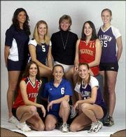 Back row, from left, Lauren Kracl, Eudora; Kelli Wilbur, Mill Valley; Jill Brown, Baldwin - Coach of year; Vanessa Wardy, Tonganoxie; Emily Brown, Baldwin. Front row, from left, Jenny Heck, Ottawa; Shelly Hendrix, Perry-Lecompton; Rachel Miles, Baldwin.