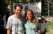 Jose Tena, 26, left, originally from Madrid, Spain, and his wife, American Alicia Kalhammer, 31, of Tallahassee, Fla., stand outside police headquarters in Mombasa, Kenya. The couple was picked up by Kenyan police about 90 minutes after the attack Thursday on the Paradise Hotel. They were released Saturday.
