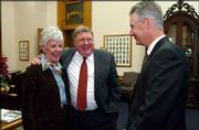 Incoming Insurance Commissioner Sandy Praeger, left, newly appointed State Supreme Court Justice Robert L. Gernon, center, and Gov. Bill Graves share a laugh after a news conference. Graves announced the appointment of Gernon, a Lawrence resident, to the Kansas Supreme Court on Wednesday at the Statehouse in Topeka. Praeger congratulated Gernon, a friend since college, after the news conference.