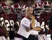 Alabama coach Dennis Franchione is shown in this file photo. Franchione will replace R.C. Slocum as head football coach at Texas A&M.