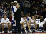 Kansas coach Roy Williams is miffed after Aaron Miles fouled a Tulsa player during a three-pointer. The Jayhawks held on to defeat the Golden Hurricane, 93-85, last December at Kemper Arena.
