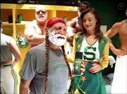 Willie Nelson holds a can of shaving cream as he appears in an H&R Block commercial that will be shown during the Super Bowl. The theme of the commercial is Nelson has to film a commercial to pay for accounting mistakes and that he should have used H&R Block.