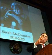 Sam Donaldson, ABC news broadcaster, talks about Sarah McClendon at Saturday's tribute to the veteran White House reporter at the National Press Club in Washington. McClendon died Jan. 7.