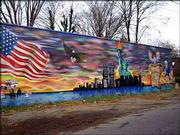 City Island resembles a New England fishing village, but it's part of New York City. This wall mural commemorates the Sept. 11, 2001, terrorist attacks.