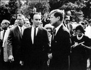Harris Wofford, left, who will speak next week in Lawrence, was a special assistant to John F. Kennedy, right, advising the president on civil rights. Wofford also helped launch the Peace Corps in 1961.