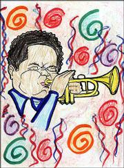 "Second- and third-grade students at Sunflower School helped color these pages from ""An Introduction to Jazz Workbook."" The trumpeter was done by Lauren Byrn."