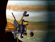 This artist's rendition shows the Galileo satellite in front of the planet Jupiter. The Galileo spacecraft is drawing to the end of its $1.5 billion mission to explore the largest planet in the solar system.
