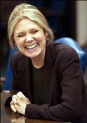 Gloria Steinem says women still face equality battles. The noted feminist spoke Monday at Kansas University's Lied Center.