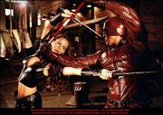 "Jennifer Garner, left, and Ben Affleck do battle in ""Daredevil."""