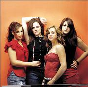 "The Donnas members Allison Robertson, left, Brett Anderson, Torry Castellano and Maya Ford just released their major-label debut, ""Spend the Night."""