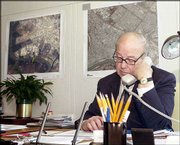 Hans Blix, United Nations chief weapons inspector, works Thursday in his office at the U.N. headquarters in New York, a day before he presents his latest assessment of Iraq's cooperation to members of the U.N. Security Council.