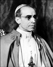 Pope Pius XII is shown in Vatican City in this Feb. 5, 1946, file photo. Documents from the newly opened Vatican archives from the time before World War II show that the Vatican did intervene with Germany on behalf of the Jews.