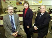 Judges for the 2003 Lawrence Journal World Academic All Stars are from left, Earl Kirk, Dean of Arts and Sciences at Baker University, Angela Lumpkin, Dean of Education at KU and Robert G. Herrington professor at the School of Education at KU.