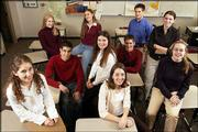 The 2003 Lawrence Journal-World Academic All-Stars are, from left, Annie McEnroe, Lawrence Free State; Julie Anne Beck, DeSoto; Mark Allen Samsel, Wellsville; Merry Chadwick, Lawrence Free State; Lia DeRoin, Lawrence; Leigh Morris, Ottawa; Robert Mathew Overbaugh, Tonganoxie; Luke Thompson, Lawrence Free State; Jenna Wilcox, Lawrence; and Katherine Jorn Lammers, Baldwin.