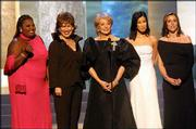 "The cast of the television show ""The View,"" nominated this year for best talk show and talk show host, appears at the 2001 Daytime Emmy Awards at New York&squot;s Radio City Music Hall, May 18, 2001. From left are Star Jones, Joy Behar, Barbara Walters, Lisa Ling and Meredith Vieira. The cast was relieved to receive nods as it announced the Daytime Emmy nominations live on Wednesday&squot;s edition of ""The View."" ""All My Children,"" another ABC show, led daytime television with 17 nominations."