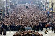 Nearly 500,000 people follow the funeral procession of assassinated Serbian Prime Minister Zoran Djindjic Saturday in Belgrade, Serbia.