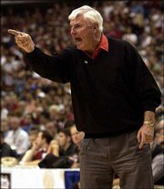 Texas Tech coach Bob Knight argues a call in the game against Oklahoma. The Red Raiders lost to the sixth-ranked Sooners, 67-60, in overtime Saturday at the Big 12 Conference tournament in Dallas.