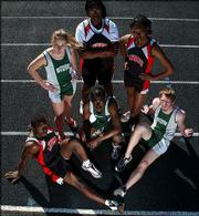 Lawrence High and Free State High track competitors begin their season Friday. Pictured are, from top left clockwise, seniors Kelley Perme (FSHS), Magdalen Obiefule (LHS), Audrey Pope (LHS), Adrian Ludwig (FSHS), Stanley Redwine (FSHS) and Chris Fulton (LHS).