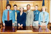 Southwest Junior High School students spend a day paging for state Sen. Mark Buhler, R-Lawrence. The students visited the Capitol March 6. From left are Brian Hatesohl, Jason McCandless, Gov. Kathleen Sebelius, Buhler, Spencer Latt and Blake Thames. Buhler submitted the photo. Got a shot for Friends & Neighbors? Send it, along with your name, phone number and caption information, to Friends & Neighbors, P.O. Box 888, Lawrence 66044. For more Friends and Neighbors, go to www.lawrence.com/publish/postem/friends.