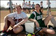 Lawrence High senior Courtney Taulbert, left, and Free State senior Meika Potter are eager for the start of the softball season. The Lions will take the field for the first time today, while FSHS must wait until Tuesday for its opener.
