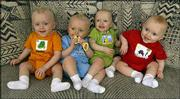 The Tetrick quadruplets, two sets of identical twins, are seen in their Wichita home. The brothers are, from left, Parker, Peyton, Camden and Christian.