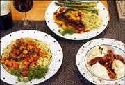 "Dr. James Otten enjoys cooking Creole dishes. He recently prepared these dishes on the ""Jayni&squot;s Kitchen"" show. They are, clockwise from left, Sauteed Crawfish With Orzo Pesto, Blackened Ahi Tuna With Mango Salsa and Bananas Foster."
