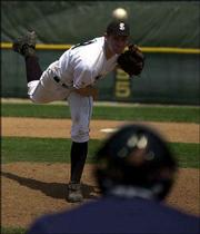 Free State's Jake Hoover hurls a pitch. Hoover pitched four innings Saturday in the Firebirds' 8-7 win over LHS at Free State Field.