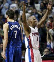 Detroit's Chauncey Billups celebrates after a basket. Billups led all players with 37 points in the Pistons' 108-93 victory Sunday over Orlando in Game 7 of the Eastern Conference quarterfinals in Auburn Hills, Mich.