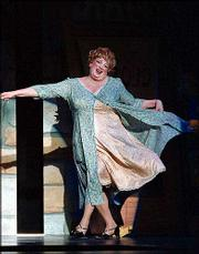 "Harvey Fierstein dances in costume as Edna Turnblad in the hit Broadway musical ""Hairspray,"" in this undated publicity photo. The show is among those being considered for Tony Award nominations to be announced Monday."