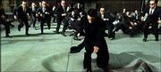 "Neo (Keanu Reeves) fights dozens of Agent Smith clones (Hugo Weaving) in a scene from ""The Matrix Reloaded."""